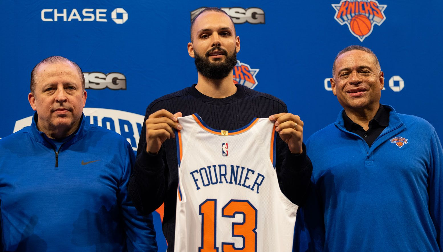 Evan Fournier introduced as a Knick
