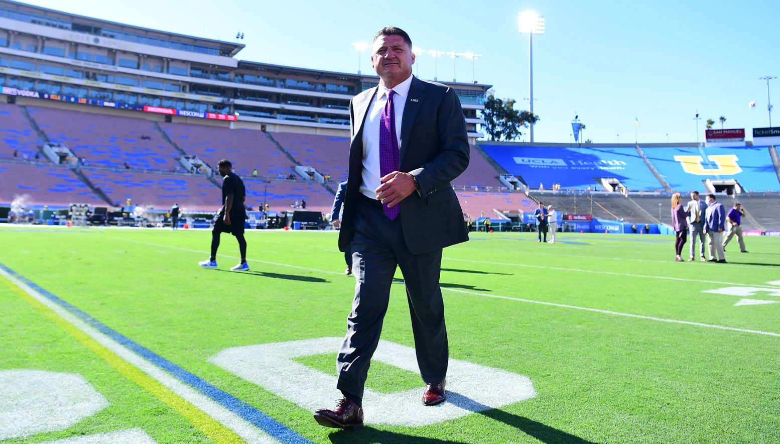 Ed Orgeron on the sideline in the game against UCLA